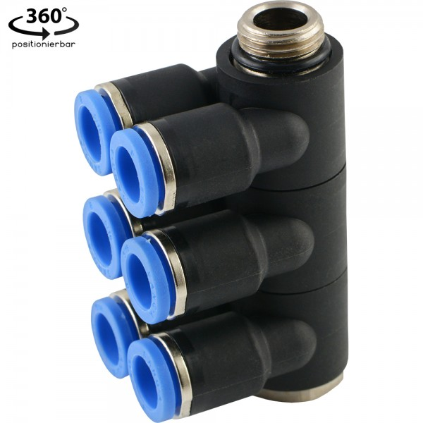 IQS-Mehrfachverteiler (6-fach) - mit zylindrisches Außengewinde
