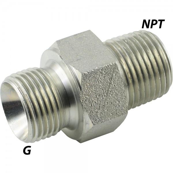 Doppelnippel mit G-/NPT-Gewinde (60° Universaldichtkegel)