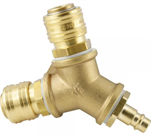 Luftweiche mit Druckluftkupplung und Kupplungsstecker NW 7,2
