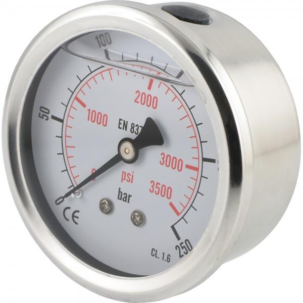Glycerinmanometer waagerecht Ø 63 mm Chromnickelstahl - Messing