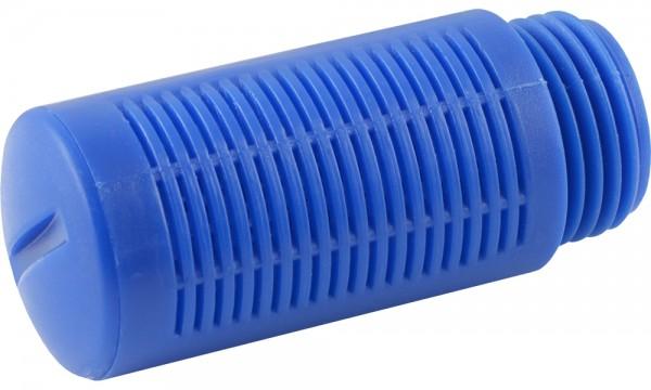 Schalldämpfer aus Kunststoff mit Granulatfüllung