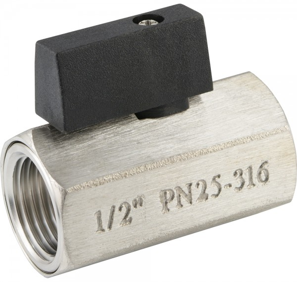 Edelstahl-Mini-Kugelhähne mit Knebelgriff einseitig