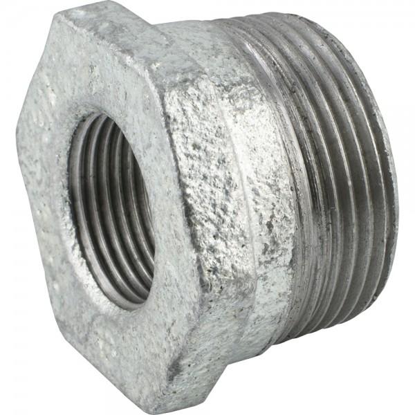Reduziernippel mit konischem Außen- und zylindrischem Innengewinde - Temperguss verzinkt
