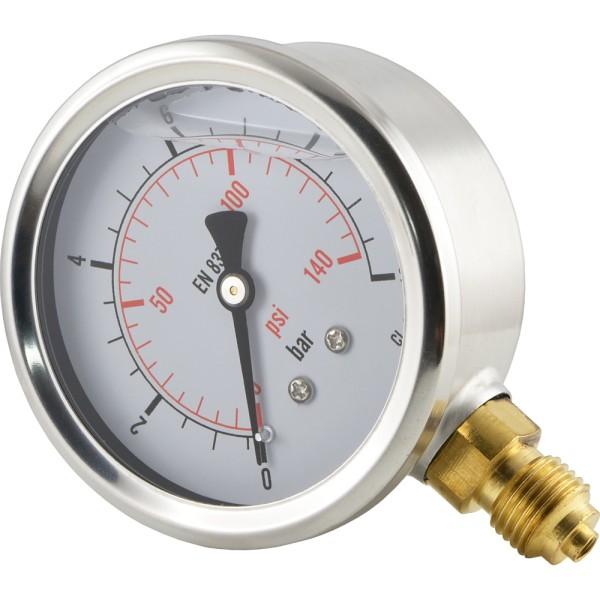Glycerinmanometer senkrecht Ø 63 mm Chromnickelstahl - Messing