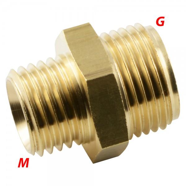 Doppelnippel mit Zöllig / metrischem Gewinde - Adapter
