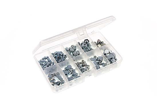 Schmiernippel-Sortimente in Kunststoffkasten