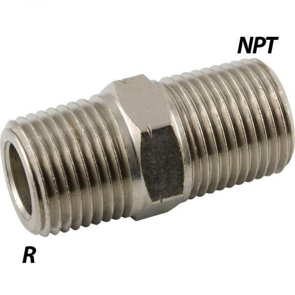 Doppelnippel mit R-Gewinde / NPT-Gewinde (Adapter)